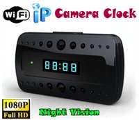 Wholesale Hd Spy Cam Wifi - Wifi 1080P Hidden Spy Cam IP Camera wifi Clock camera Mini Camcorders HD 120 Deg with Night Vision Black