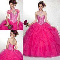 Wholesale Dress Quinceanera Fushia - Hot Sales Fushia Quinceanera Dresses 2015 Organza Sweetheart Pleat with Sequined Open Back Floor Length for Sweet 16 Years