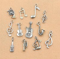 Wholesale Tibetan Coin Jewelry - Fashion Jewelry Charms Mixed Tibetan Silver Musical Note Trumpet Instrument Charms Pendants For Jewelry Making Diy Handmade Craft 120pcs