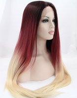 Wholesale Wig Long Straight Hair 34 - queen hair products ombre lace wig synthetic long straight wig lace front wigs for black women heat resistant fiber