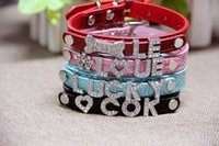 Grande vente 50% Mix 7colors 4sizes Croc Pu cuir personnalisé DIY Nom Charm Dog Pet Collar Pet Supplies (Price exclude sliders) 522