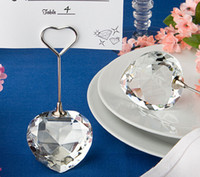 Wholesale Crystal Wedding Table Numbers - 5pcs Heart Crystal Name Number Table Place Card Holder Wedding Party Favor