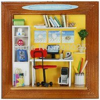 Wholesale Wooden Kids Picture Frames - Free Shipping Kids Assembly Miniature Wooden Picture Frame Dollhouse, Easy DIY Elegant Study Educational House Toys For Kids