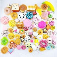 Wholesale Cell Phone Strap Bread - 100pcs Kawaii Squishies Bun Toast Donut Bread For Cell Phone Bag Charm Straps Wholesale Mixed Rare Squishy Slow Rising Lanyard Scented