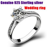 Wholesale Pure Zircon Rings - 2016 New TOP Quality wholesale 100% Real Pure 925 Sterling Silver Six Claws Zircon Elegant Women Wedding Ring.aneis de diamante