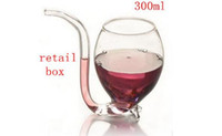 Wholesale 300ML Transparent Glass Wine Cup Drinking Cup with Tube Vampires Style Glass Cup