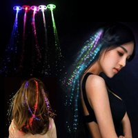 Wholesale Glow Clips - Colorful LED Wigs Glowing Flash LED Hair Braid Clip Hairpin Decoration Ligth Up Show New Year Party supplies Christmas