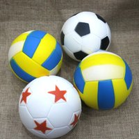 Wholesale Soft Soccer Balls - Jumbo Soccer Football Volleyball Squishy Slow Rising Cute Phone Straps Sport Ball Fun Kid Toy Squeeze Soft Relieve Charms