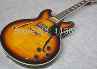elektrische jazzgitarre f löcher großhandel-Custom Shop 50. Jahrestag 335 Vintage Sunburst CS Semi Hollow Body Jazz E-Gitarre Schwarz Pickguard Double F Löcher Block Pearl Inlays