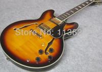 guitare anniversaire achat en gros de-Custom Shop 50th Anniversary 335 Vintage Sunburst CS Semi Creux Corps Jazz Guitare Électrique Noir Pickguard Double F Trous Block Pearl Inlays