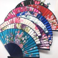 Wholesale Silk Wedding Hand Fan - Chinese Craft Silk Floral priting Handmade Folding Hand Fan 20 pieces a lot Multi Color Wedding Dancing Party Free Shipping