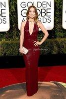Wholesale Olivia Wilde Dresses - 2016 Golden Globe Award Olivia Wilde Burgundy Evening Gowns Deep V Neck Plunging Neckline Halter Sequin Runway Celebrity Evening Dresses