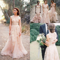 Wholesale 2016 V Neck Lace Wedding Dresses Reem Acra Puffy Bridal Gowns Vintage Country Garden Wedding Dresses Champagne A line Wedding Gowns