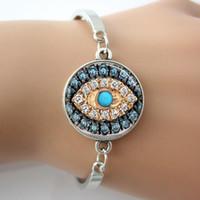 Wholesale Evil Eye Charm Glass - Evil Eye Bangle,Glass Dome Silver Plated Metal Jeweled Bracelet,Good Luck Talisman Art Pendant Bangle Jewelry A007