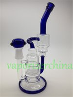 tubos finales al por mayor-Handman Blown Heady Agua Bongs Pipas de vidrio Honey Comb Percolator con dos capas de reciclar bong Fit para 18mm Female Junta mango de color final