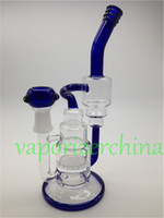Wholesale Pipe Fitting Bend - Handman Blown Heady Water Bongs Glass Pipes Honey Comb Percolator with two layer recycle bong Fit for 18mm Female Joint colored end handle