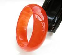 ingrosso braccialetti di giada gialla-Spedizione gratuita - Braccialetti di fascino intagliati a mano con giada naturale di giada gialla arancione ghiaccio