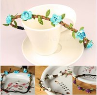 Wholesale Flower Ponies - Plumblossom Hot Sale New Fashion Womens Bohemia Beach Flower Hair Bands Headband Hair Accessory Colors Drop Shipping Headwear freeshipping
