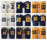 Wholesale brand college - College Michigan Wolverines Jerseys 2 Charles Woodson 10 Tom Brady 16 Denard Robinson Jersey NEW AJ Brand Home Away