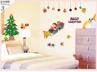 Wholesale Xmas Decals Free - 2015 Merry Christmas Xmas Tree Santa Claus cartoon cute Wall Sticker Home Decal Decor free ship