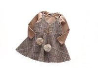 Wholesale Wholesale Chiffon Tunic Dress - Fashion girl dress autmn winter girl tunic dress T-shirt+dress 2 pcs Prince long sleeve clothing 5 p