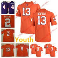 Wholesale Kelly S Kids - Youth Kid Clemson Tigers College Football Jerseys 13 Hunter Renfrow 9 Travis Etienne Jr. 2 Kelly Bryant 4 Deshaun Watson Orange Purple White
