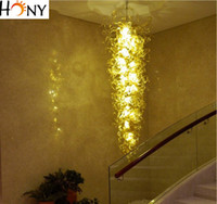 araña de cristal led rectangular al por mayor-Envío gratis Fancy Hand Blown Glass Rectangular Crystal Chandelier Lighting LED Modern Murano Glass Chandelier Lighting