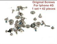 Wholesale Phone 42 - 100sets lot , For iphone 4 4g Full set screw Screws,100% original new, 42 pcs full set for 1 phone,fast free shipping by HKPAM