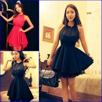 Vestido de festa Halter Neck Black Red Sexy Short Cocktail Party Dresses  2018 Fashion Mesh Irregular Hem Girls Casual Dress bac90a058f24