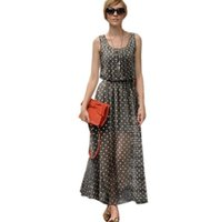Wholesale Tank Dresses For Women - New 2016 Summer Polka Dot Chiffon Maxi Dresses For Women Fashion Plus Size Dot Print Sleeveless Long Tank Dress Sundress S- XXXL