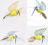 Wholesale Solar Flying Fluttering Hummingbirds - 1 piece new Creative Solar Hummingbird Flying Fluttering Birds Resin Home and garden Decoration free shipping