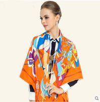Wholesale tartan hijab - 2016 Fashion bandana Luxury Scarve Woman Brand Silk Scarf Women Shawl High Quality Print hijab Female Elegant Neckerchief Square scarves wra