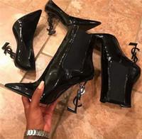 kadınlar için siyah önyükleme topukları toptan satış-Özel yapılmış En kaliteli Koyun içinde lüks tasarımcı Siyah Patent Deri Heyecan Topuk Kadın Ayak Bileği Çizmeler Haraç Deri