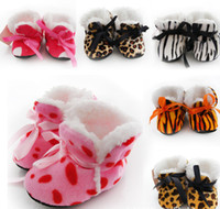 Wholesale Baby Home Shoes - Autumn and winter gloves thicker section toddler shoes baby shoes home small leopard print shoe opening 12pair 24pcs