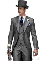 Wholesale Slim Tailcoat - 2015 European Style Slim Fit Groom Tailcoats Grey Peaked Lapel Prom Suit Custom Groomsmen Mens Wedding Suits ( Jacket+Pants+Vest+Tie+Hanky)