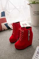 Atacado- Punk mulher gótica Lace Up Wedge High Heel plataforma Creeper Round toe Zip Side Ankle Boots sapatos Para Mulheres Red Black