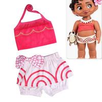 Wholesale Girls Cartoon Swimsuit - Baby Girls Swimsuit Bikini Summer Lace-up Tops+ Bow Short Pants 2pcs Bathing Clothing Kids Tankinis Bohemian Cartoon Swimwear
