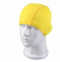 Wholesale Silicone Swim Caps Wholesale - 2015 Adult Children swimming caps cartoon caps cloth caps for swimming Caps Swimming Hats Kids Swimming hats caps 11 colors swimming cat