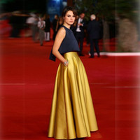 jupe plissée en taffette achat en gros de-Luxe longue Celebrity Yellow Pleats Custom Made Taffetas moitié Jupes 2015 Nouvelle Collection Tutu Jupe Livraison gratuite Cheap Celebrity Robes Party