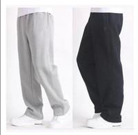 Wholesale Velvet Men Sport Pants - Wholesale-4 seasons Men's pants pocket with zipper Wei pants plus fertilizer thick loose straight casual sports trousers plus velvet