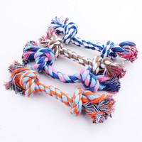 köpek oyuncakları ücretsiz gönderim toptan satış-Pet Oyuncak Pamuk Örgülü Kemik Halat Çift düğüm pamuk halat trompet Köpek Yavrusu Ücretsiz Nakliye için Düğüm Çiğnemek