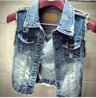 Wholesale Women Blue Jean Vest - Wholesale-2015 Newest Fashion Jean Vest Women Vintage Single Breasted Hole Short Jacket Outwear Sleeveless Denim Coat Tops Plus Size