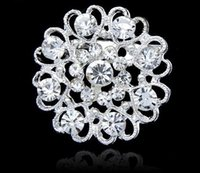 Wholesale Wholesale Bling Brooches - Luxury bling Crystal Rhinestone flower Pins Brooches new women heart shape silver plate diamond brooch Chirstmas party charm jewelry gift