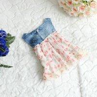 meninas chiffon denim vestido venda por atacado-Venda por atacado- venda quente do bebê meninas Floral Denim Dress Kids Beach / verão / princesa / Chiffon Layer Dresses