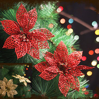 Wholesale Wholesale Artificial Xmas Trees - NEW 6 inch Christmas Artificial Flowers Xmas Tree Decorations Hollow Wedding Party Decor Ornaments 1 PCS