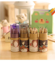 Wholesale Wooden Pencils Set - 12 pcs lot DIY Cute Kawaii Wooden Colored Pencil 2B Wood Colorful Pencil for Drawing Painting Supplies Free shipping 01513
