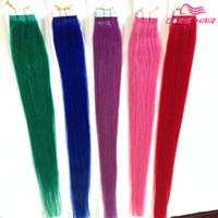 düz kırmızı saç uzantıları toptan satış-Çok satan!!! İpeksi düz bant saç uzatma renkleri karışımı pembe, kırmızı mavi mor yeşil bant insan saç bandı saç