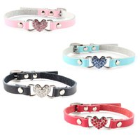 collares para perros xs al por mayor-Cute Small Pets Dog Collars Puppy Love Heart Bling Crystal PU Collar de cuero XS / S
