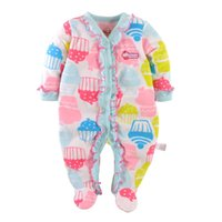 Wholesale Baby Footed Rompers Fleece - Pink Candy Cake Baby Girls Rompers Fleece Foot Cover Bebe Ropa Long Romper With Feet Pajamas Sleepwear Soft Baby Clothes