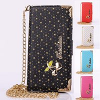 Wholesale Galaxy S4 Crystal Flip - Luxury women's Crystal Flip Leather Wallet Case with sky star+golden chain for iphone5S 6 6S plus Samsung galaxy S4 S5 S6 edge NOTE4 3 2